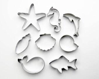 Under The Sea Cookie Cutters, Starfish Cutter, Whale Cutter, Scallop Cutter, Dolphin Cutter, Shark Cutter, Fondant Mold, Pastry Baking