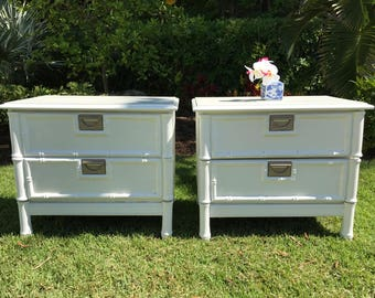 SOLD** Vintage Pair of Faux Bamboo Nightstands/ Hollywood Regency/ Chinoiserie Chic/ Beach Chic/ Tropical Decor