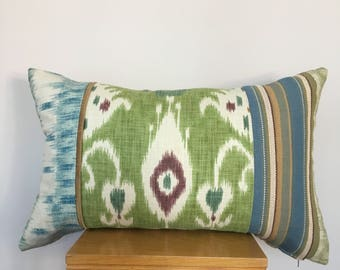 Hand made ,Bohemian design pillow,Interior design cushion Linen,Striped cushion cvet,cushion ,Blue,Green,Decorative Tribal,Gold.