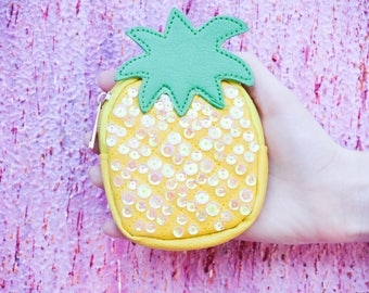 Sequin pineapple coin purse