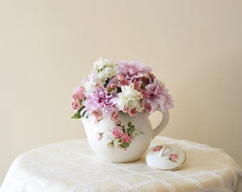 Lovely Pink and White Floral Arrangement in Vintage Teapot