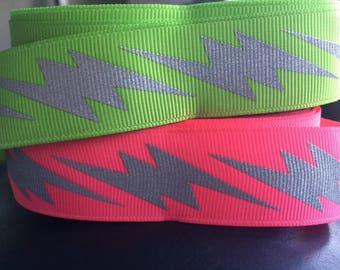 "Reflective Neon Grosgrain Ribbon 1"" wide"