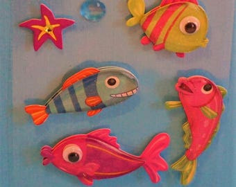 Colorful 3D Fish Stickers
