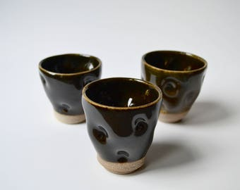 Temmoku small ceramic cups