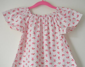 Handmade Girls Age 3-4 Years Peasant Top ''Pink Floral''