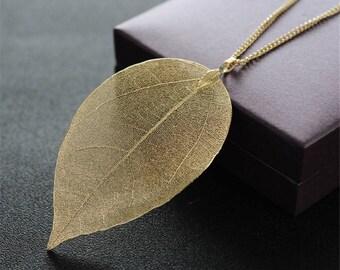 Unique Golden True Leaves Pendant & Necklace