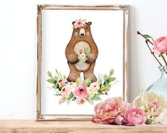 Girl Nursery Wall Art, Woodland Bear Print, Printable Watercolor Nursery Art, Instant Download Nursery Decor
