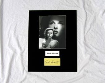vintage Susan Hayward Autograph Autographed Signed Display Art Piece black and white photograph photo artwork