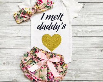 Baby Girl Clothes, Daddy's Girl, Baby Clothes, Baby Girl Outfits, Daddy Daughter Outfit, Newborn Girl Clothes, Baby Girl Clothes Daddy