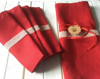 set table runner and napkins, napkins, flax, linen. Red