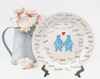 Wedding Word Art Penguin Signature Plate - Supplied With Ceramic Pen
