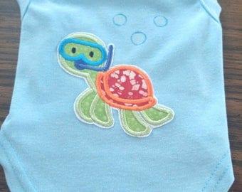 Snorkeling Sea Turtle Dog T-Shirt