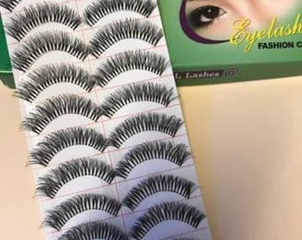 False Eyelashes, Women Makeup, 10 Pairs Natural Eyelashes