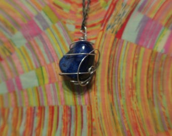 Rock Pendant. Wire Wrapped rock necklace. Blue rock necklace. Stone pendant. Rock with wire pendant.