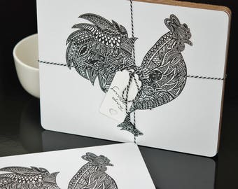 Set of 4 Black and White Rooster Placemats