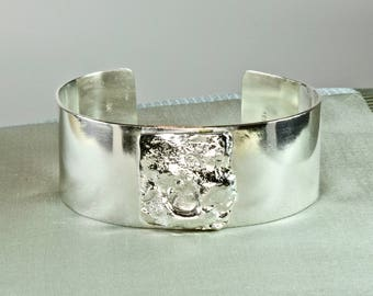 Cuff bracelet-polished Sterling silver-reticulated silver centre accent-hand made