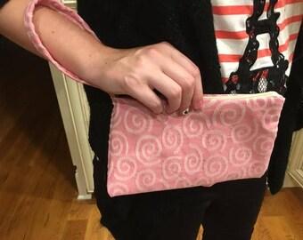 Pink Swirl Wristlet
