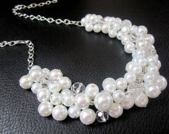 Set of 4 Chunky Pearl Necklace, White or Ivory Pearls, Cluster Necklace, Bridesmaids Gifts, Bridesmaid Necklace