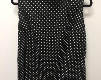 Large Vintage black and white polka dot tunic/shirt/top/tunic