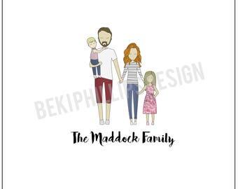 Digital Family Illustration A4