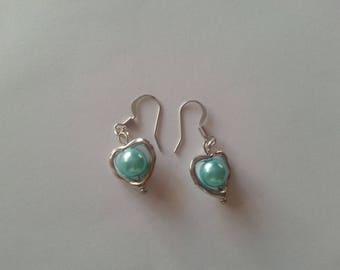 Pearl Heart Dangle Earrings