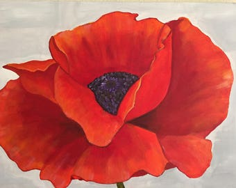 Red Poppy painting. Flowers. Wall decor. Home decor. Living space decor. Wall hanging