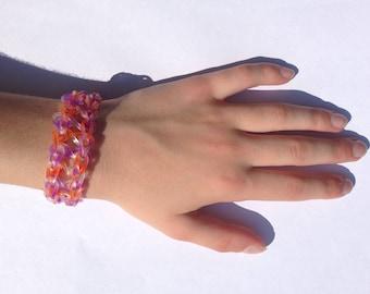 Orange and purple Rainbow Loom infinity bracelet