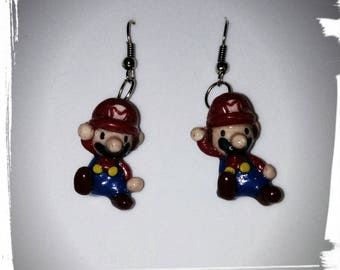 Mario bros in clay earrings polymer