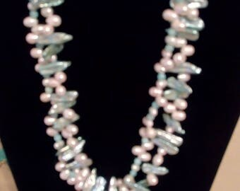 Vintage Multi strand chunky faux pearl   22 inches