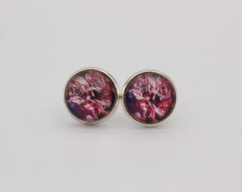 Cabochon earrings floral