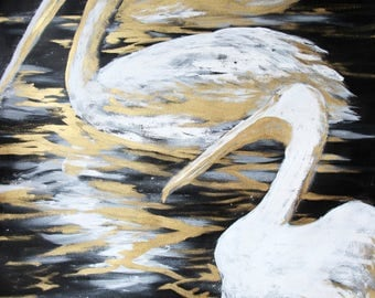 Pelicans, paint, ink and gouache gold, original, animal, nature