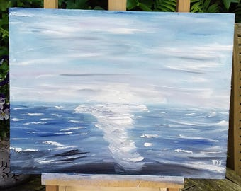 Abstract oil painting seascape 30x40 cm - sea painting - water painting - original artwork - colorful painting - wall art - handmade