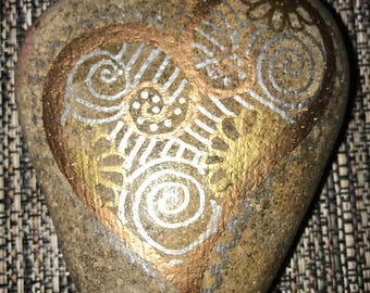Gold copper and silver heart