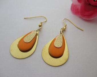 Drop earrings gold and orange