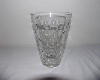"""Vintage Hazel Atlas Clear Glass Capri Dots Pattern 8-1/2"""" Flower Vase"""
