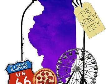 Map in a Mason Jar: Illinois