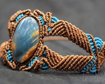 Macrame and stone Onyx sky bracelet