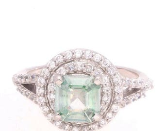 1 ct moissanite emerald cut light green GRAND OPENING SALE