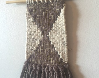 Taupe & Beige Woven Wall Hanging with Gold Embellishments