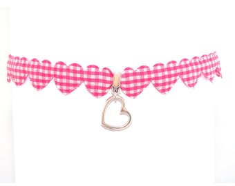 Choker chain Oktoberfest Pink White Heart Necklace