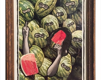 "For Women - ""Melon Jokes"" 6 x 8 in. Collage for Charity"
