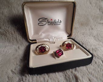 1950's Cuff Links and Tie Tac with Red Stones in Original Box-Shields Fifth Avenue