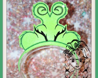 GREEN Evil Who's HeART Grew 3-X Larger Hair ~ In The Hoop Headband ~ Downloadable DiGiTaL Machine Embroidery Design by Carrie