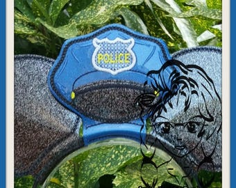 PoLICE HaT Center (Add On ~ 1 Pc) Mr Miss Mouse Ears Headband ~ In the Hoop ~ Downloadable DiGiTaL Machine Embroidery Design by Carrie