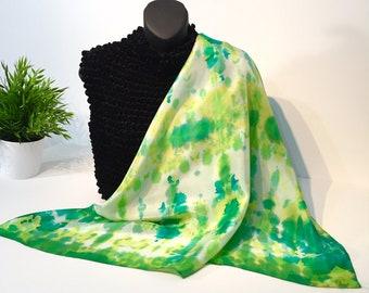 Handpainted Silk Scarf - Green, Yellow, White - Shibori style, fashion, square, unique design 29x29 in