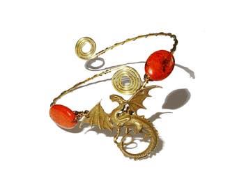 Dragon brass ethnic bohemian upper arm bracelet armlet