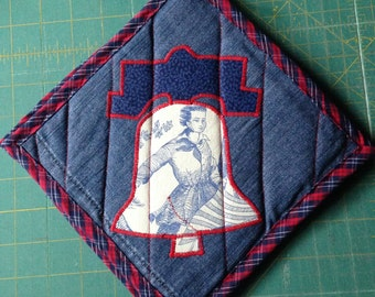 Liberty Bell Bicentennial Fabric Red and Blue