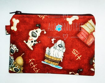 Dogs, red zip pouch, gadget,toiletry bag, purse, id13409237, portemonnaie, moneybag, cosmetic pad case, cute, kawaii, hund, k9