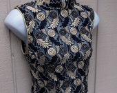 Vintage Blue w/ Metallic Gold 90s Sheer Lace Crop Top / romantic Asian inspired / Size xs - sml