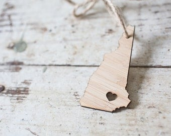 i heart New Hampshire State Ornament - Bamboo - New Hampshire Ornament Wooden State Cutout Ornament NH State Pendant  Ornament Car Mirror